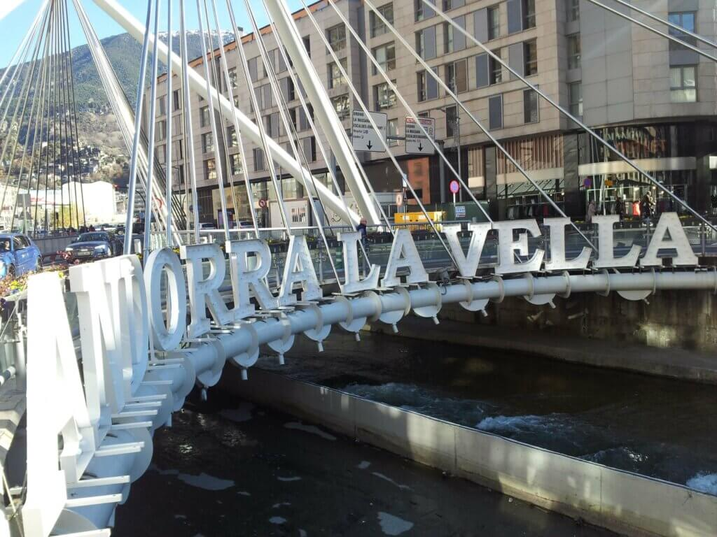 Andorra La Vella sign on the bridge